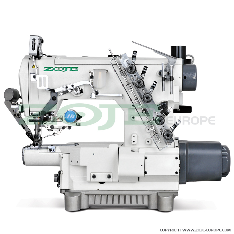 3-needle small cylinder bed coverstitch (interlock) machine with built-in AC Servo motor and automatic functions - complete sewing machine