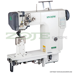 2-needle post-bed lockstitch machine with bottom, needle & upper roller feed, automatic thread trimmer, built in motor & control box (Mechatronic)- machine head - ZOJE ZJ9620-D-M-3-01