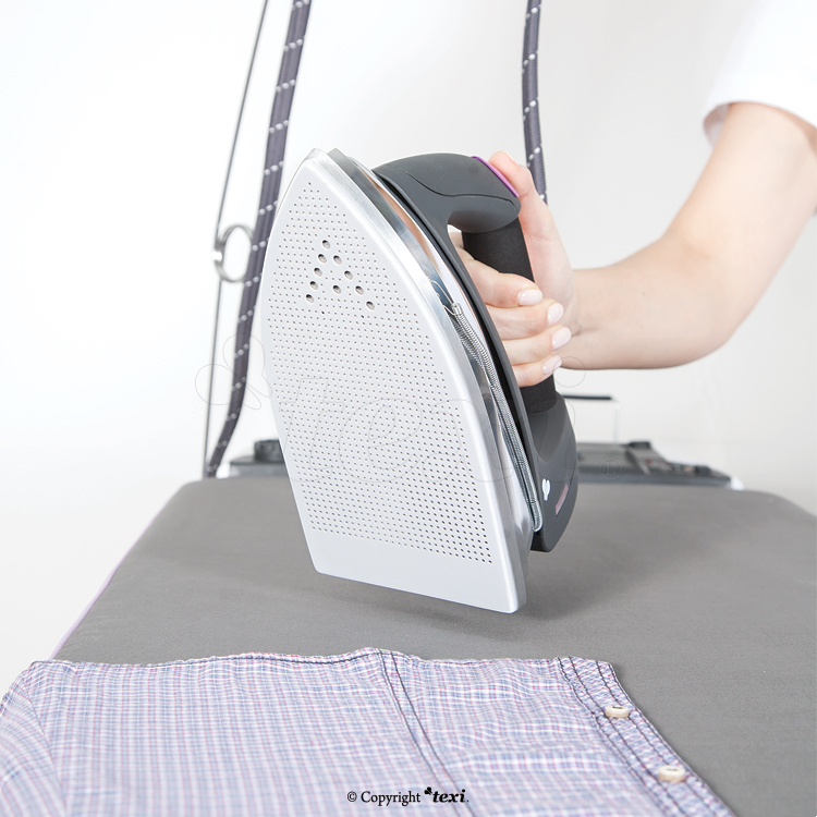 TEXI HESTIA - Compact ironing table with automatic, integrated steam generator and iron - PTFE shoe for iron and bottle for filling steam generator tank for FREE!