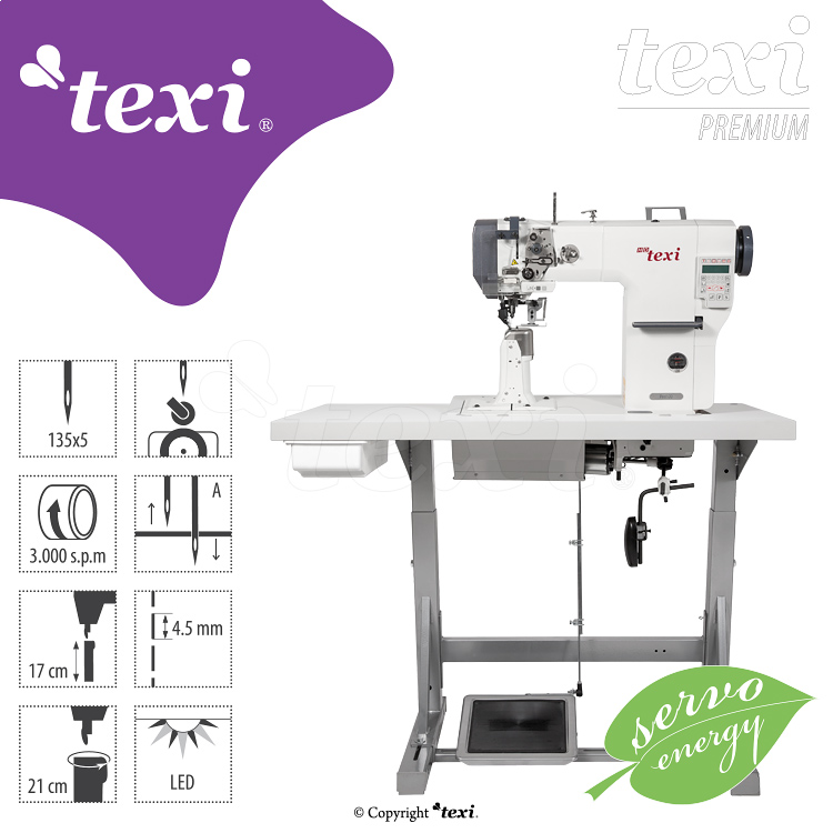 TEXI POST DD PREMIUM - 1-needle post-bed mechatronic lockstitch machine with built-in servo motor - with bottom, needle and upper roller feed - complete sewing machine