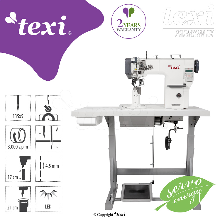 TEXI POST DD PREMIUM EX - 1-needle post-bed mechatronic lockstitch machine with built-in servo motor - with bottom, needle and upper roller feed - complete sewing machine