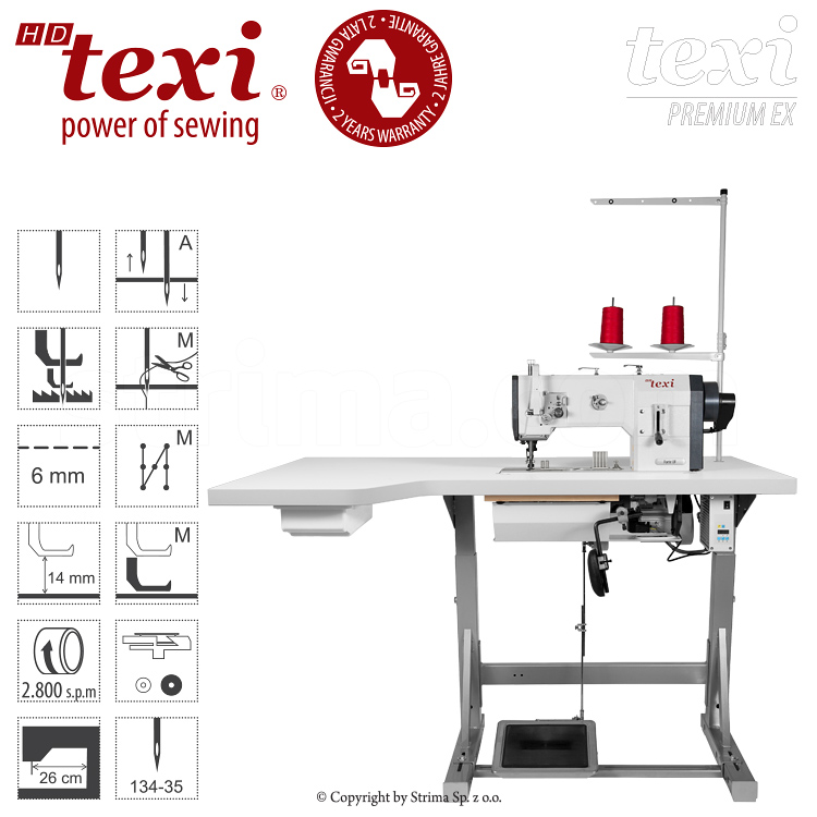 TEXI HD FORTE-B UF PREMIUM EX XL - Upholstery and leather lockstitch machine with unison feed, large hook, AC Servo motor and needle positioning - set with extended table top and 2 years warranty