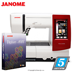 Computerized sewing, quilting and embroidery machine - set with embroidery design software JANOME DIGITIZER MBX