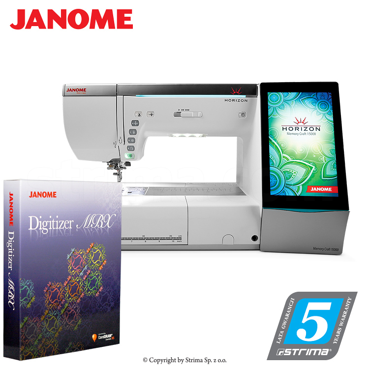 JANOME MEMORY CRAFT 15000 HORIZON MBXSET - Computerized sewing and embroidering machine - promotional set with JANOME DIGITIZER MBX software