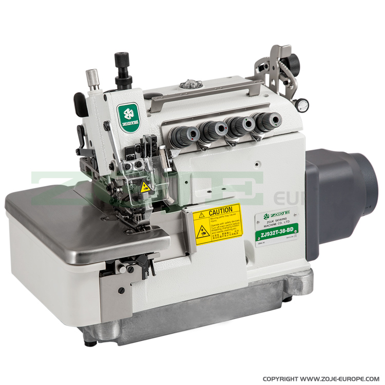 ZOJE ZJ932T-38-BD - 5-thread overlock (safety stitch) machine with top and bottom feed, for thin-medium materials, with built-in AC Servo motor, needles positioning - machine head
