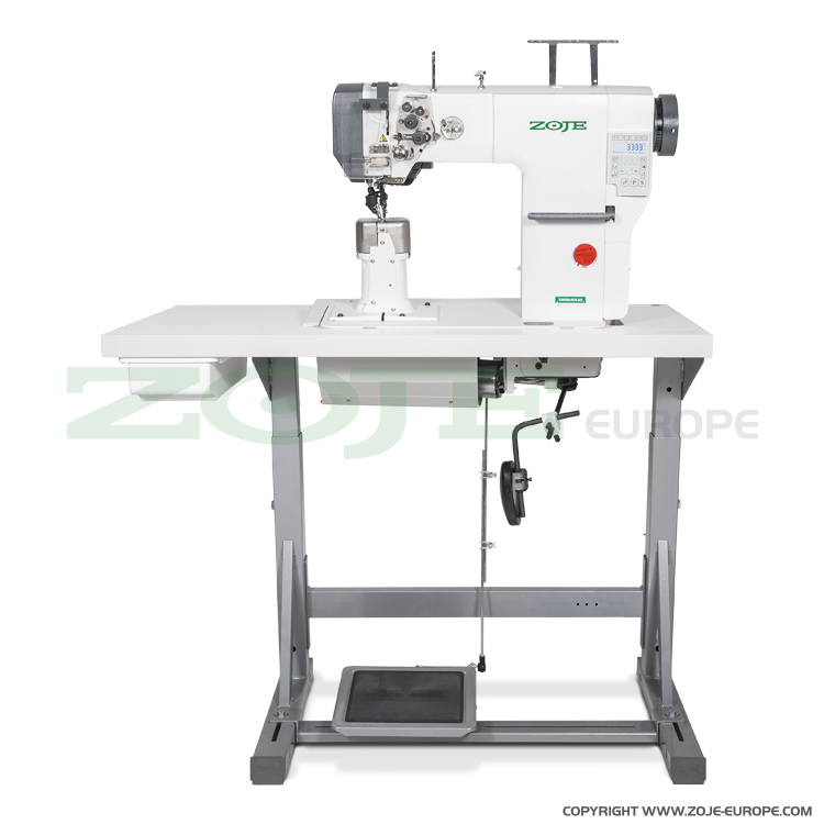 Automatic 2-needle post-bed lockstitch machine with bottom, needle and upper roller feed, with AC Servo motor - complete sewing machine
