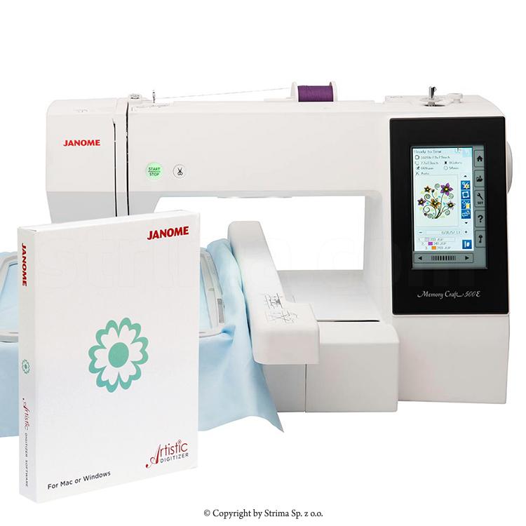 JANOME MEMORY CRAFT 500E MBX SET - Computerized embroidery machine - set with embroidery design software JANOME DIGITIZER MBX