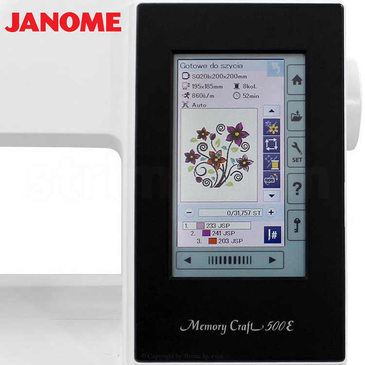 Computerized embroidery machine - set with embroidery design software JANOME DIGITIZER MBX - JANOME MEMORY CRAFT 500E MBX SET