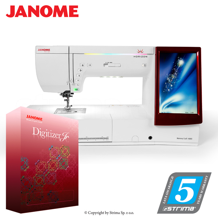 JANOME MEMORY CRAFT 14000 HORIZON JR SET - Computerized sewing and embroidering machine - promotional set with JANOME DIGITIZER JR software