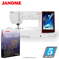 Computerized sewing and embroidering machine - promotional set with JANOME DIGITIZER MBX software