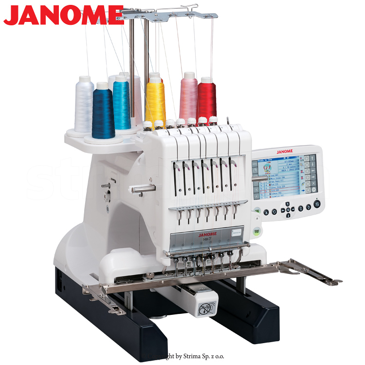 JANOME MB-7 - Compact, one-head, seven-needle embroidery machine with a big hook