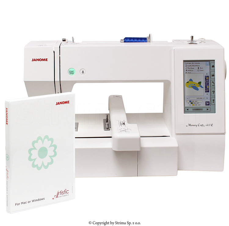JANOME MEMORY CRAFT 400E JR SET - Computerized embroidery machine - set with embroidery design software JANOME DIGITIZER JR