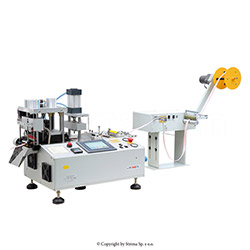 Automatic, multifunction, hot knife cutting machine (bevel cutter) with automatic tape feeding with hole punching device