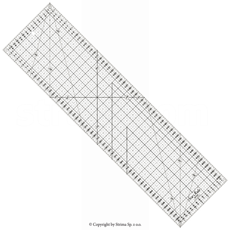 Quilting ruler, 160x600 mm, metric scale, black