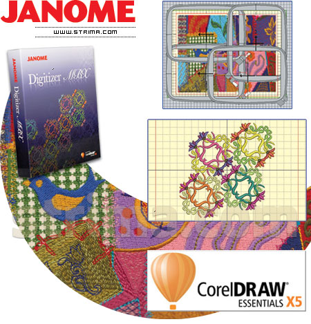 JANOME MB-7 SET - Compact, one-head, seven-needle embroidery machine - set with embroidery design software JANOME DIGITIZER MBX