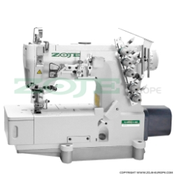 3-needle flat bed coverstitch (interlock) machine with built-in AC Servo motor and needles positioning - machine head - ZOJE ZJW562A-1-BD (5.6mm)