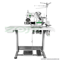 4-needle cylinder double chainstitch machine with folder and puller for tape binding - complete machine