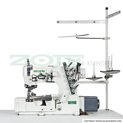 Zoje 3-needle flat bed coverstitch (interlock) machine for binding, with built-in AC Servo motor and needles positioning - machine head