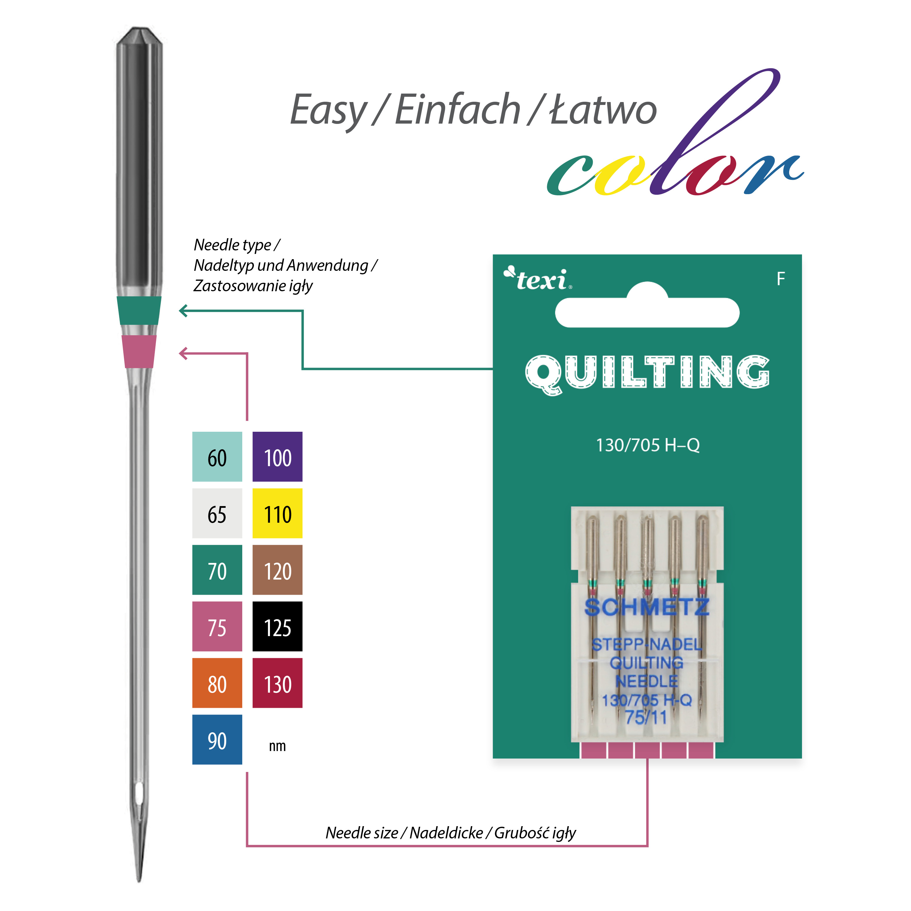 Quilting needles for household machines, 5 pcs, size 75 - TEXI QUILTING 130/705 H-Q 5x75