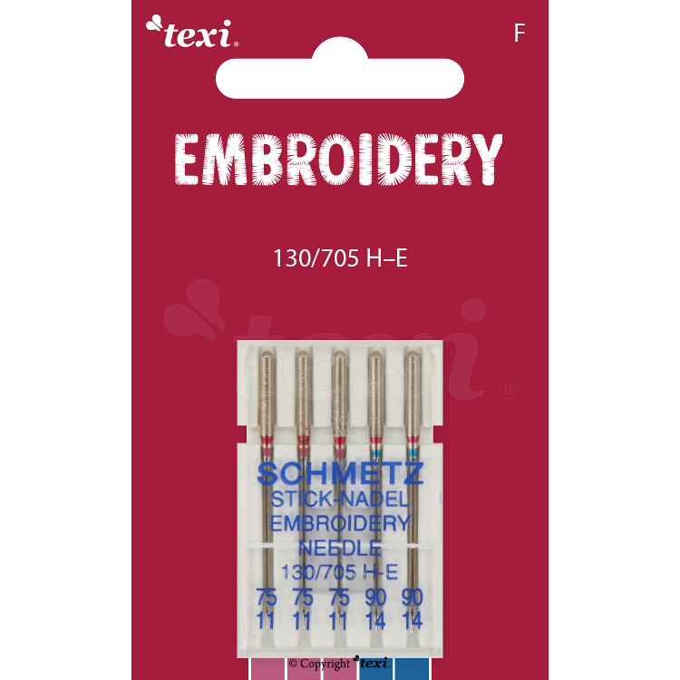 Embroidery needles for household machines, 5 pcs, size 75x3, 90x2 - TEXI EMBROIDERY 130/705 H-E 3x75, 2x90