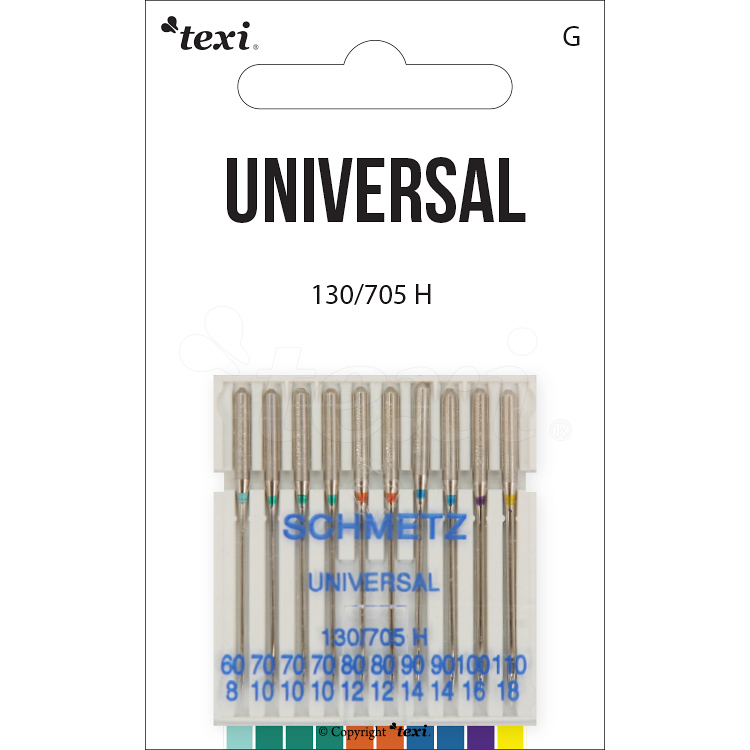 TEXI universal needles for household machines, 10pcs, size 60x1pcs, 70x3pcs, 80x2pcs, 90x2pcs, 100x1pcs, 110x1pcs