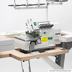 5-thread mechatronic overlock machine for light and medium materials, with built-in AC Servo motor and needles positioning - machine head