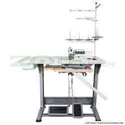 5-thread mechatronic overlock (safety stitch) machine for light and medium materials, with built-in AC Servo motor and needles positioning - complete machine