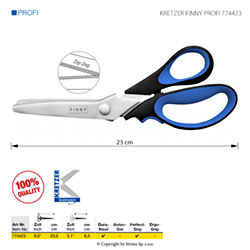"Tailor's scissors zigzak for very fine materials, length 9""/23 cm - KRETZER FINNY PROFI 774423"