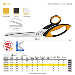 "Scissors for difficult fabrics, length 12""/30 cm, one-sided micro-serrated blade"