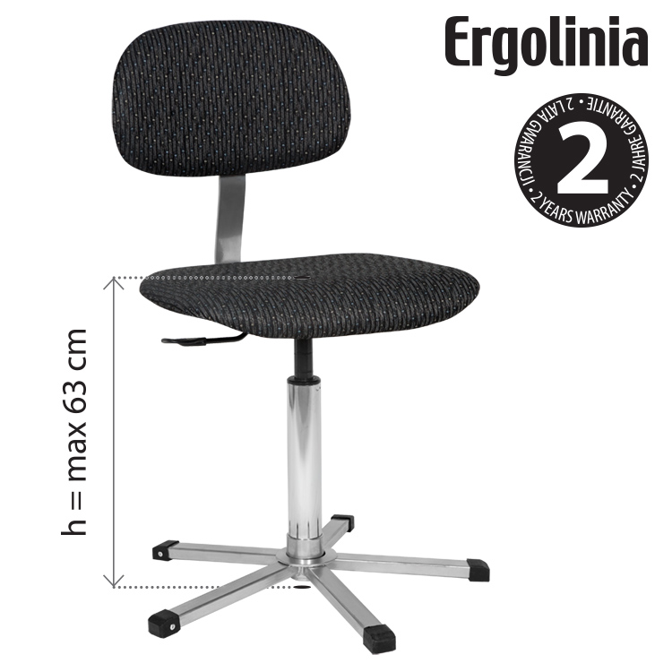 Industrial rotary chair - adjustable backrest, upholstered - pneumatic lift