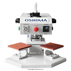 OSHIMA two-station fusing press machine for transfers, surface of both plates 15x15 cm