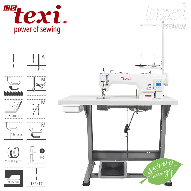 TEXI WALKER WF SERVO PREMIUM - Upholstery and leather lockstitch machine with built-in Servo motor and control box (Mechatronic), bottom feed and walking foot, large hook - complete machine
