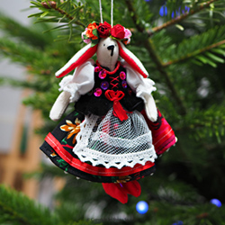 Hand-embroidered Christmas tree decoration - three tild rabbits