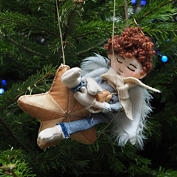 Hand-embroidered Christmas tree decoration - SLEEPING ANGEL GABRIEL