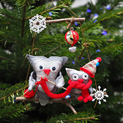 Hand-embroidered Christmas tree decoration - OWLS WITH A SCARV - OWLS WITH A SCARF