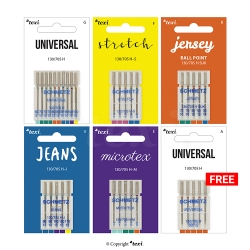 Universal needle set for household machines, 5 types