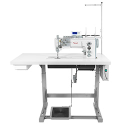 Automatic upholstery and leather lockstitch machine with built-in AC Servo motor, bottom and foot feed, large hook - complete machine