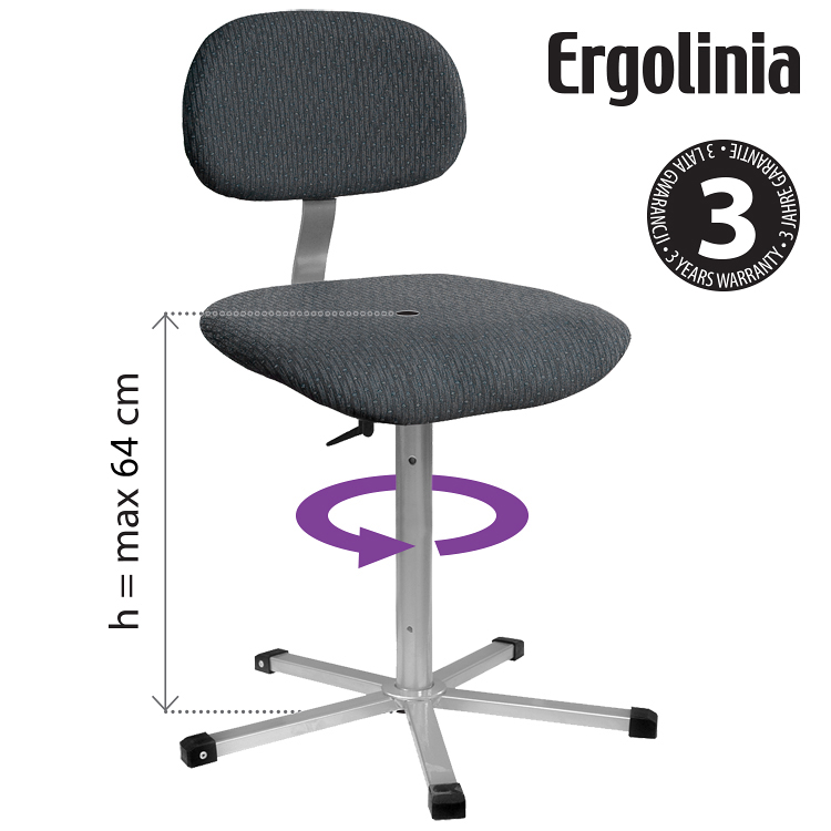 Industrial rotary chair - upholstered - ERGOLINIA 10002