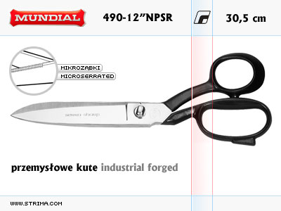 "490-12"" NPSR MUNDIAL - INDUSTRIAL FORGED dressmaker shears"
