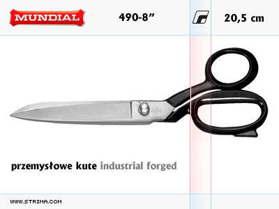 "490-8"" MUNDIAL - INDUSTRIAL FORGED dressmaker shears"