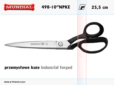"INDUSTRIAL FORGED dressmaker shears - 498-10"" NPKE MUNDIAL"