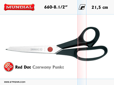 "660-8.1/2"" MUNDIAL - RED DOT hobby - craft shears"