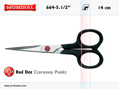"664-5.1/2"" MUNDIAL - RED DOT hobby - craft scissors"