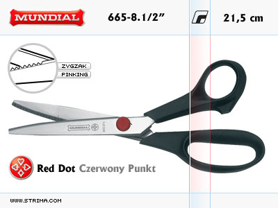 "665-8.1/2"" MUNDIAL - RED DOT hobby - craft pinking shears"
