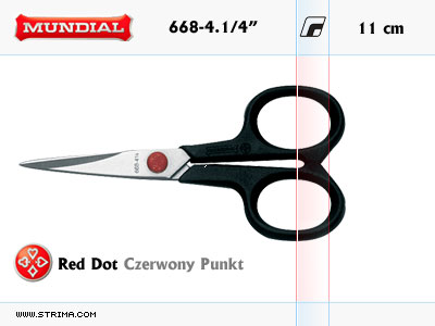 "668-4.1/4"" MUNDIAL - RED DOT hobby - craft embroidery scissors"