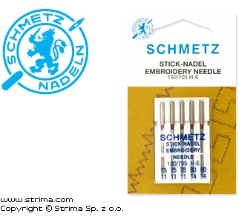 SCHMETZ embroidery needles 130/705H-E, 5pcs. 3x75, 2x90