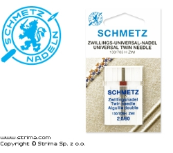 SCHMETZ twin needle 130/705H ZWI, pair, distance 2,0mm, 2x80