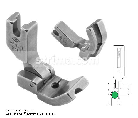 P69LH3/16 [36069LH 3/16] - Hinged piping foot, left 4.8mm
