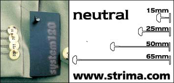 120 PPS NEUTRAL 065 - Tagging pins 65 mm standard, neutral, box 12.000 pcs