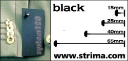 Tagging pins 25mm standard, black, box 12.000 pcs